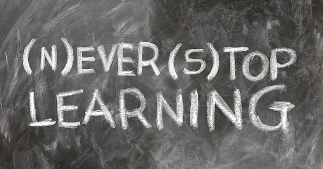 blackboard photo which says never stop learning