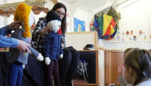 puppets being used in a CAP UK children's workshop